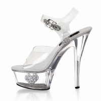 Fashion star style 15cm sexy high heeled shoes wedding crystal shoes 6 inch Platforms shoes glitter clear sandals
