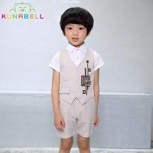 Brand Children Baby Boys Formal Suit Wedding Birthday Dress Clothes Sets Blouse Vest Pants Gentleman Kids Waistcoat Clothes F21