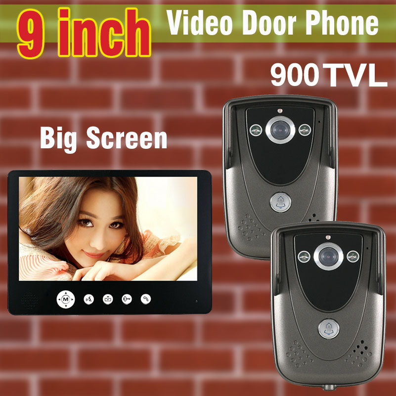 Video Intercom System 9 inch Big Screen 900TVL HD Camera Video Door Phone DoorBell IR Ni ...