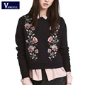 Women Embroidery floral black hoodies sweatshirts 2017 New Spring long sleeve elegant warm pullover vintage O-neck casual tops