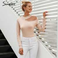 Simplee Sexy off shoulder knitted sweater Women elegant solid skinny slim pullover and sweater 2018 Autumn winter jumpers