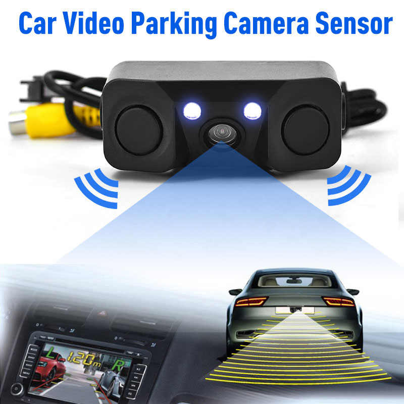 Автомобильная 3 в 1 камера заднего вида ночного видения Светодиодная лампа высокой четкости Автомобильная камера заднего вида камера добавить реверсивный радар Датчик обнаружения