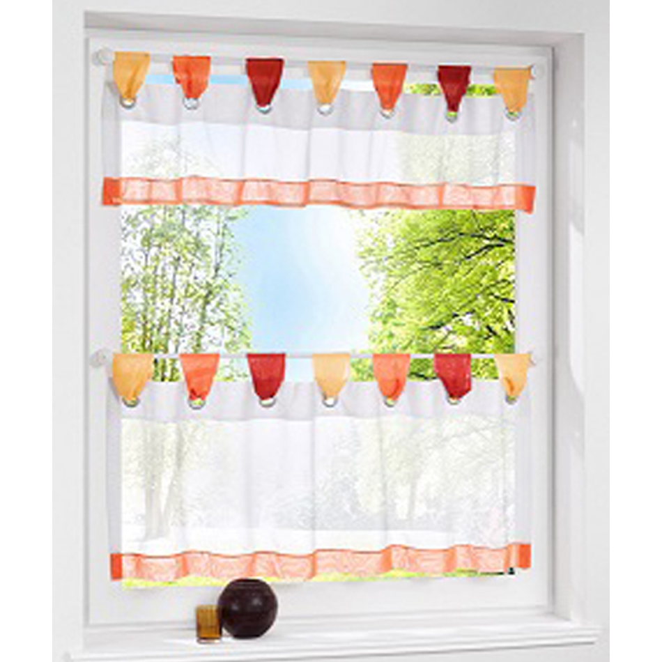 Kitchen Window Cafe Curtains: European Style Bistro Window Curtain Fancy Tap Top Kitchen Curtain Cafe Tier Curtain Transparent
