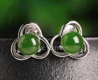 Beautiful 925 Silver Green HeTian Jade Round Beads Inlay Flower Stud Earrings Woman's Lucky Earring Ear Jewelry Certificate