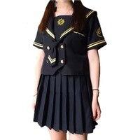 Japanese JK Sets School Uniform Girls Gun Embroidered Summer Autumn Junior Senior Women Sailor Collar Top+Pleated Skirt Uniforms