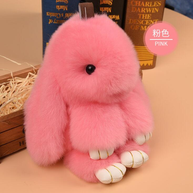 14cm Cute Bunny Keychain Rex Immitation Rabbit Fur Pompoms Key Chain Fur Pom Pom Keychain Bag Charm Car Pendant Key Ring