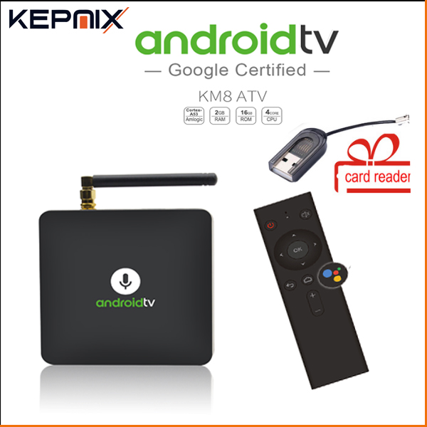 MECOOL KM8 ATV 4k media player google home Google Voice Control Smart TV Android 8.0 Amlogic S905X 2GB DDR3 16GB ott tv box cottelli m