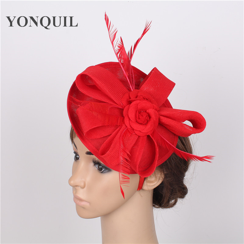 Elegant 2 roses adorned 15 colors red Fascinator Hat on hair band Wedding Party Royal Derby Race Women Bridal Hair Accessory christine lindop red roses