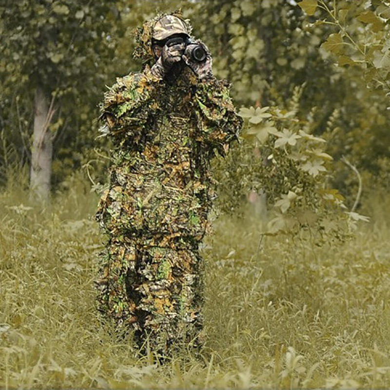 2pcs/set Hunting Ghillie Suits Hunting Clothes Laser Stereo Version jacket and pants Set Latest 3D Maple Leaf Printed Linen 4