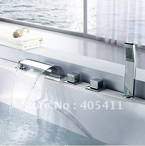 Free shipping 5 hole dual handle deck mounted Contemporary Brass Waterfall Tub Faucet with Hand Shower