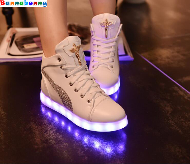 Colorful luminous LED 7 colrs high-light girls shoes adult children USB charging fluorescent flash-board shoes 25 40 size usb charging basket led children shoes with light up kids casual boys