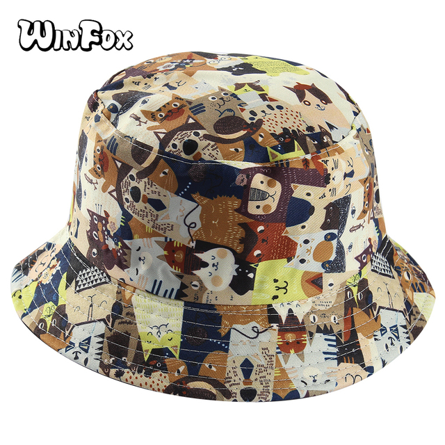 17905dbc Winfox Two Side Kawaii Cartoon Cat Print Female Bucket Hat Women Men Girls  Hip Hop Fisherman Outdoor Travel Panama Cap Bob