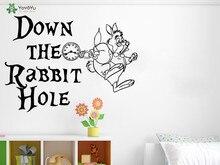 YOYOYU Wall Decal Alice In Wonderland Quotes Vinyl Wall Stickers For Kids Rooms White Rabbit Nursery Bedroom Home Decor DIYSY599 цена