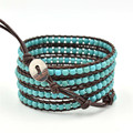New Fashion turquoise Leather bracelets & bangles Multilayer Bracelets Jewelry for Women Men Gift