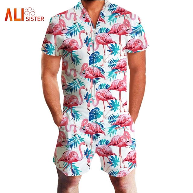 dbad0714c305 Fashion Bule Men Rompers Summer Short Sleeve Zipper Jumpsuit 3d Beach  Floral Leaves Print One Piece Overalls Casual Playsuit