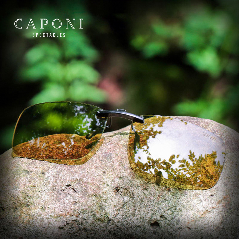 CAPONI Polarized Clip For GlasPhotochromic Night Vision Sunglasses Clip Square Fliped Up Yellow Glasses Clip UV400 BSYS1288