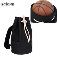 Men S Canvas Drawstring Bucket Backpack School Bag Mochila Outdoor Sports Basketball Football Gym Rucksack Travel