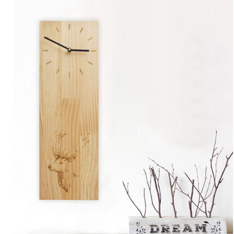 Japanese style Natural Wooden Oak Rectangle Clock Home Tea Room Decoration Crafts Sculpture Art Pattern Needle Quartz Wall Clock