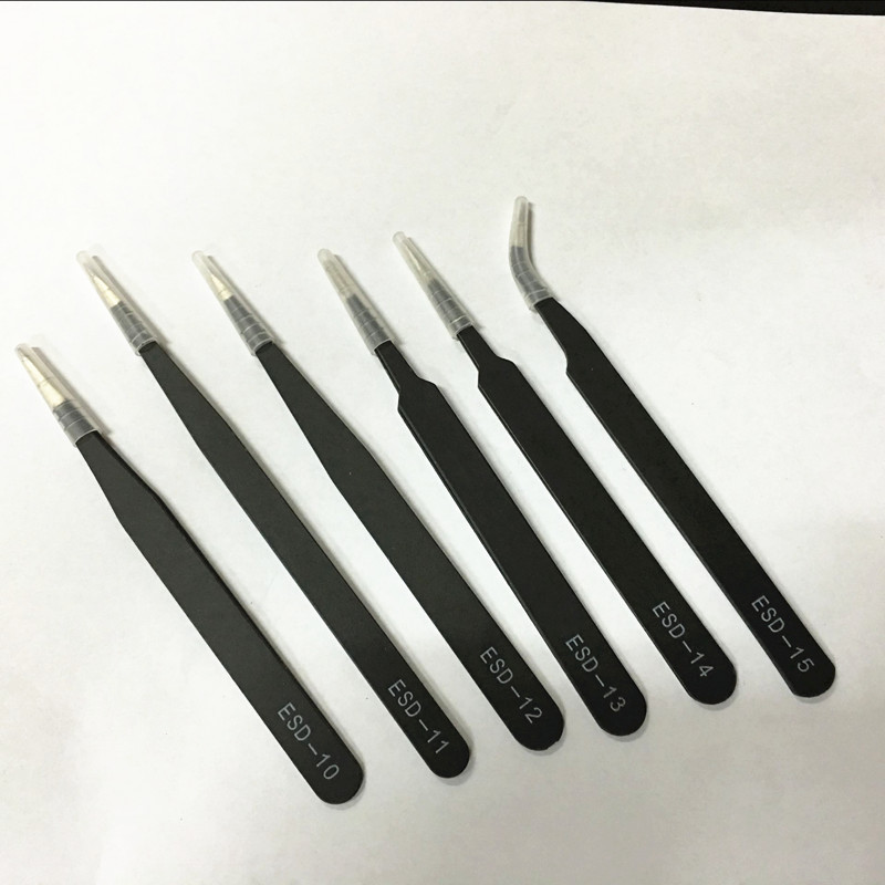 Anti-static tweezers 6 pieces / set of industrial 1.0MM thickness digital repair combination