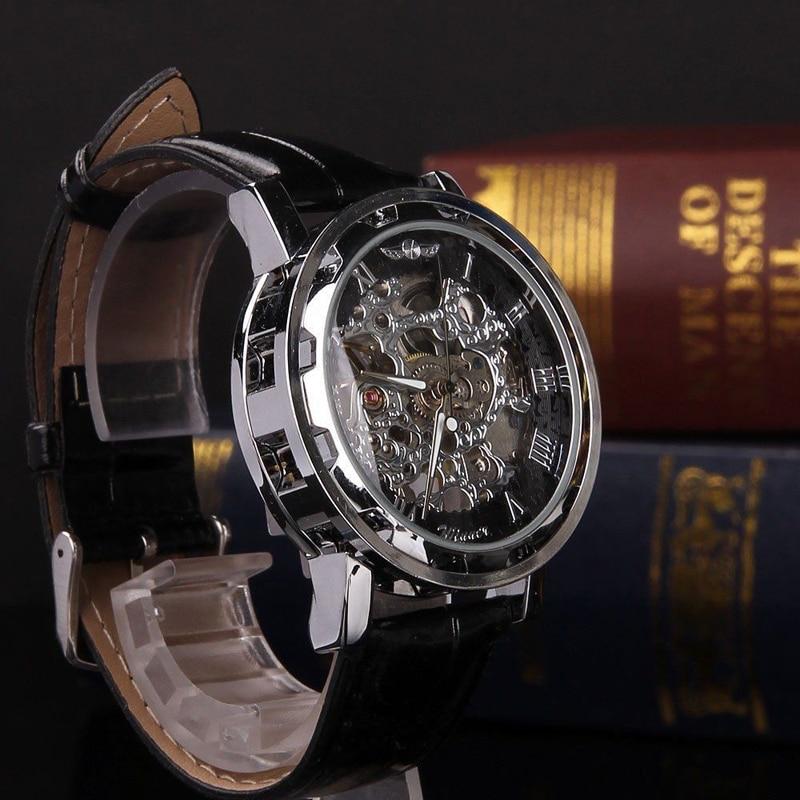 Shellhard Men's Luxury Skeleton Black Leather Watch Sport Hand-winding Mechanical Stainless Steel Wrist Watch Retro Montre Homme