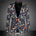 2016 Hombres Blazers Chaqueta Vestido de Traje Chaquetas de Los Hombres de Moda Casual Slim Fit Solo Botón Blazers Chaquetas Más El Tamaño de La Flor Traje hombres