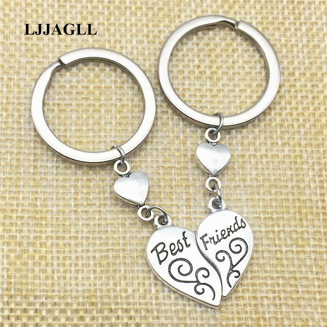Handmade Keyrings Key Peach Heart Charm 4pcs(2sets) Metal Vintage Best  Friends MOM Daughter Key Chains Diy Jewelry Make AYS098 539501c3d5c8