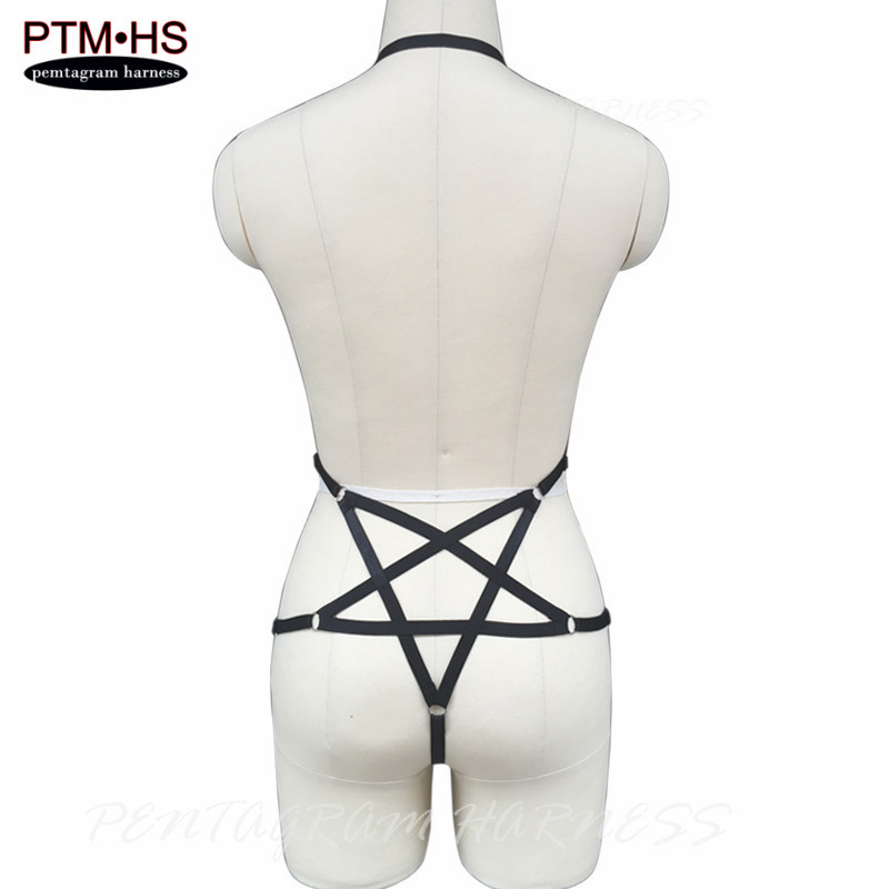 Buy Womens Body Harness Goth Harajuku Bondage Lingerie Belt Back Pentagram Elastic Strappy Tops Cage Bustier Exotic Apparel Corset