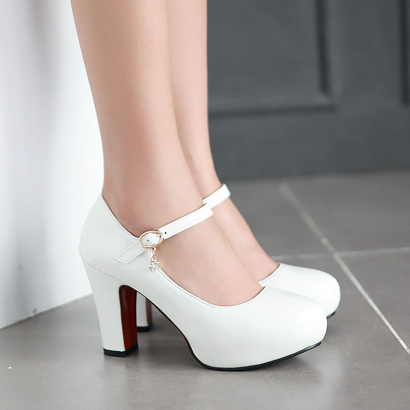White High Heels Thick Round Head Pumps Bride White Wedding Shoes ...