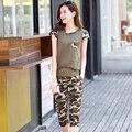 2017 новый летний моды камуфляж женщины устанавливает плюс размер тонкий двух частей установить брюки набор survetement вскользь женщин костюмы