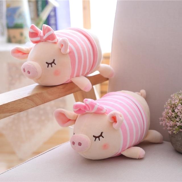 25cm Cute Pig Plush Pendant Soft Stuffed Cartoon Animal Bowknot Pig Toy Auto Accessories Chuck Pendant Girls Kids Birthday Gifts