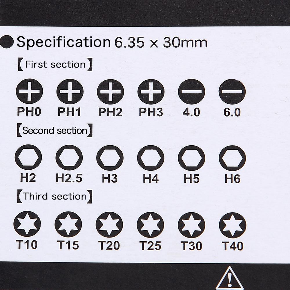 19 db-os hordozható mágneses csavarkulcs, S2 csavarhúzó-bitek, - Kézi szerszámok - Fénykép 6
