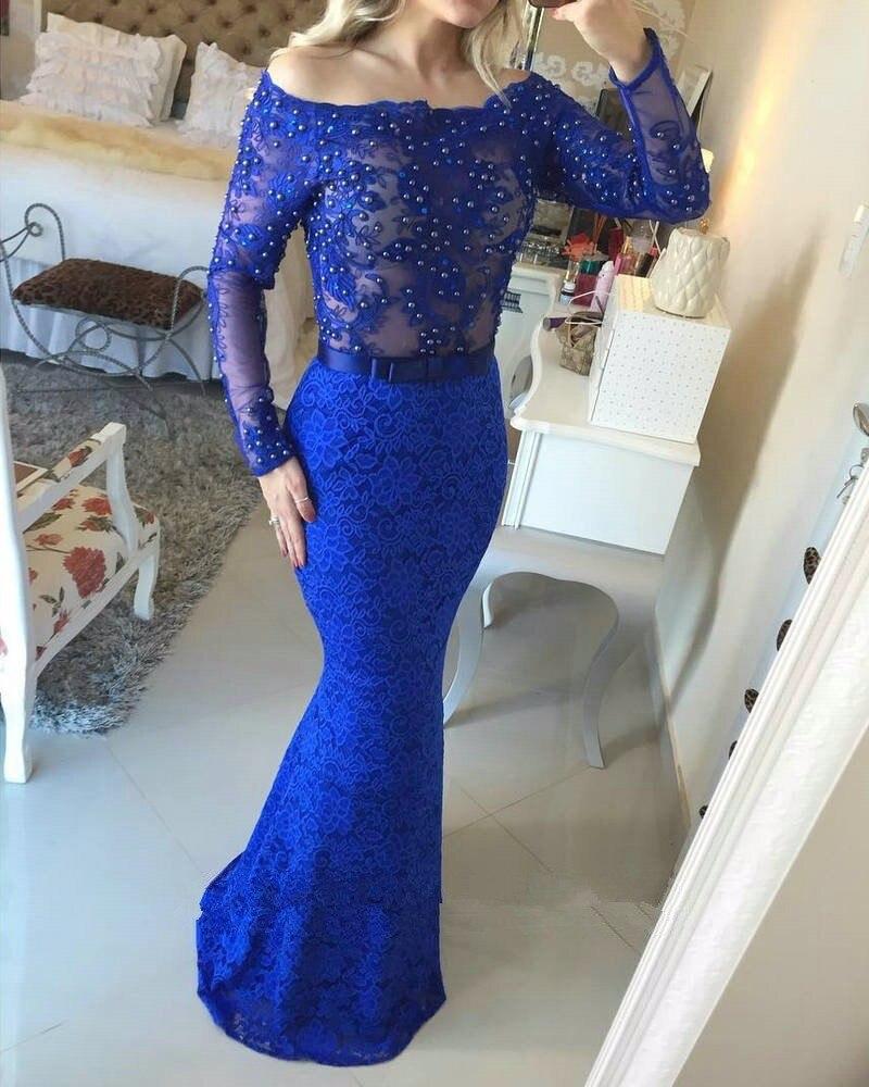 Chaud rose rouge bleu Royal dentelle en mousseline de soie à manches longues robe de soirée de bal sirène hors épaule robes de soirée 2017 vestido de festa