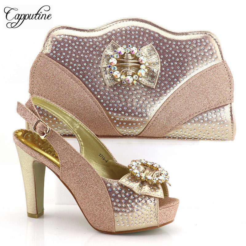 9af0c76acf ⊹Estilo africano Strass Céu Azul Mulher Sapatos E Bolsa Set 11 cm ...