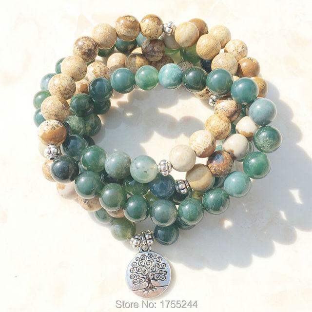 SN1005 mousse image naturelle pierre 108 Mala perles Yoga collier arbre de vie Mala Wrap Bracelet mode pierre naturelle bijoux