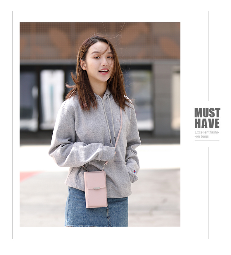 19 New Women Casual Wallet Brand Cell Phone Wallet Big Card Holders Wallet Handbag Purse Clutch Messenger Shoulder Straps Bag 35