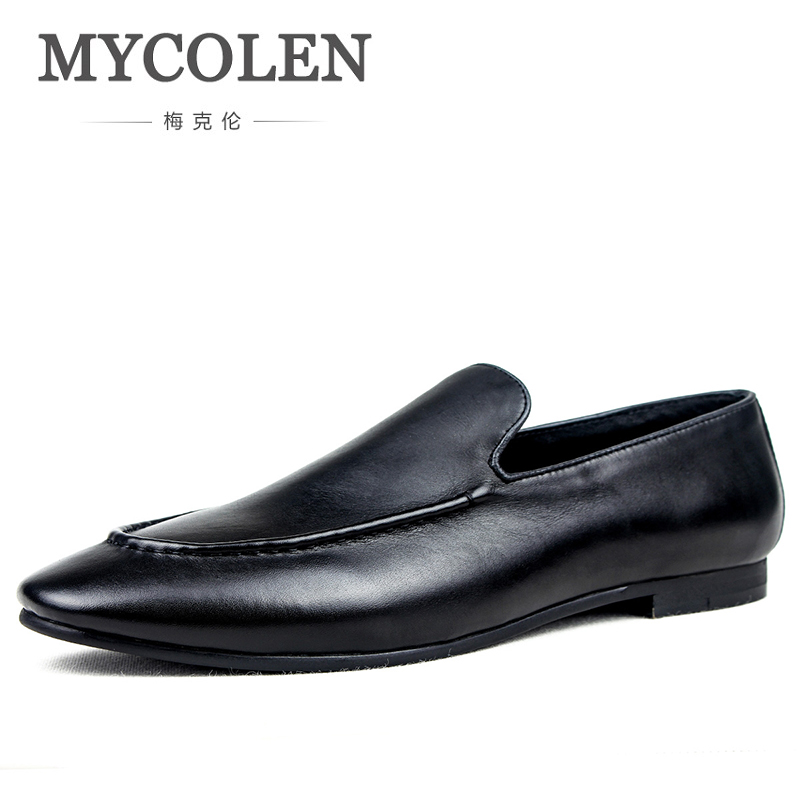MYCOLEN New Men Leather Shoes Fashion Slip On Shoes For Men Italian Leather Men Loafers Luxury Brand Scarpe Uomo Casual cangma italy deluxe brand original women men golden shoes bass brown genuine leather sstar goose shoes scarpe casual uomo zapato