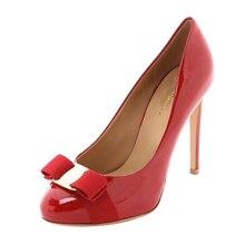Aiyoway Mode Frauen Schuhe Runde Kappe High Heels Bogen Pumpen Slip-auf  Herbst Frühling Party Schuhe Patent Leder Dark blau Rot 134df35bd4