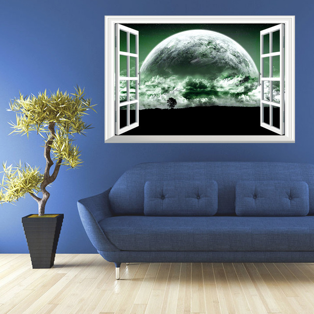 3D Galaxy Wall Sticker Outer Space Planet Stickers Removable Wallpaper 3d Window Scenery Wall Decals for & 3D Galaxy Wall Sticker Outer Space Planet Stickers Removable ...