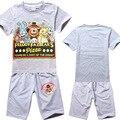 Дети детские Горячая 2016 мультфильм детская одежда установить хлопка детей шорты + футболки 2 шт. мальчиков спортивный костюм набор, пригодный для 4-14year