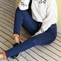 Women Jeans Skinny solid color Denim Pants For Women 2016 Buttons Pencil Pants Trousers Blue Black Plus Size Jeans for Women
