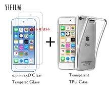 Capa traseira transparente para apple ipod, capa tpu para ipod touch 5, 6, 7 geração, 9h, 0.3mm, vidro temperado 2.5d filme ipod touch 6th 5th gen