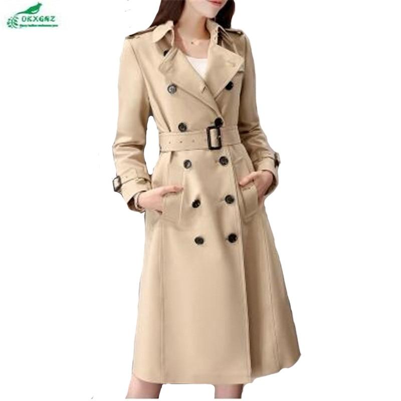 OKXGNZ Spring Women Coat 2017 New Khaki Female Medium Long Fashion Windbreaker Coat Large Size Loose Pockets   Trench   Coat A162