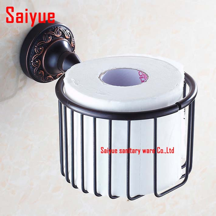 Wall Mounted Antique Black brass Bathroom Accessories Toilet wire Paper Holder bathroom sets toilet roll holder