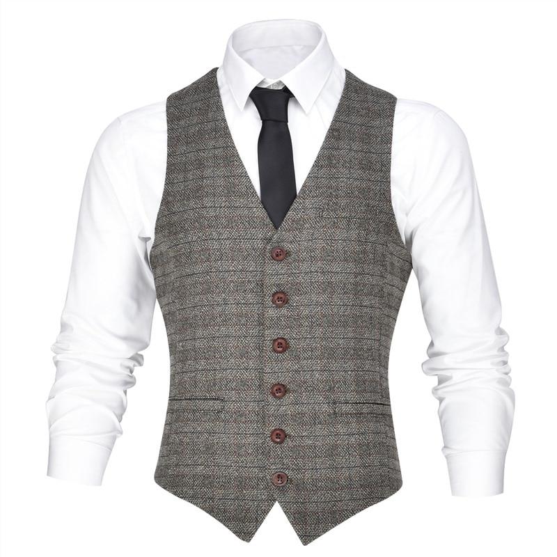 VOBOOM Brown Men Slim Fit Suit Vest Blazer Gentleman Spring Autumn Twill Grid Business Male Gilet Single Breasted 002