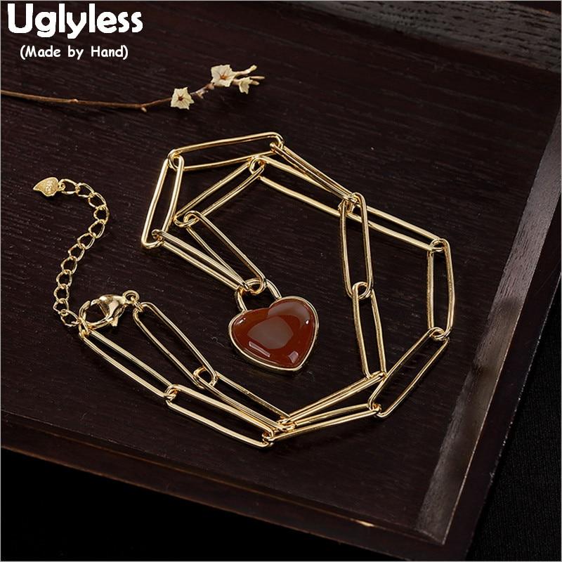 Uglyless 100% réel 925 argent Sterling grandes chaînes colliers pour femmes naturel Agate coeur pendentifs collier plaqué or bijoux