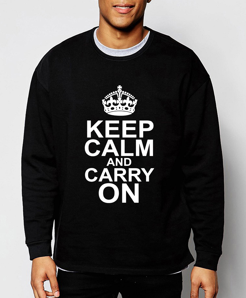 Keep Calm And Carry On letters print fashion men sweatshirt 2019 spring winter hoodies hip hop tracksuit fleece brand clothing