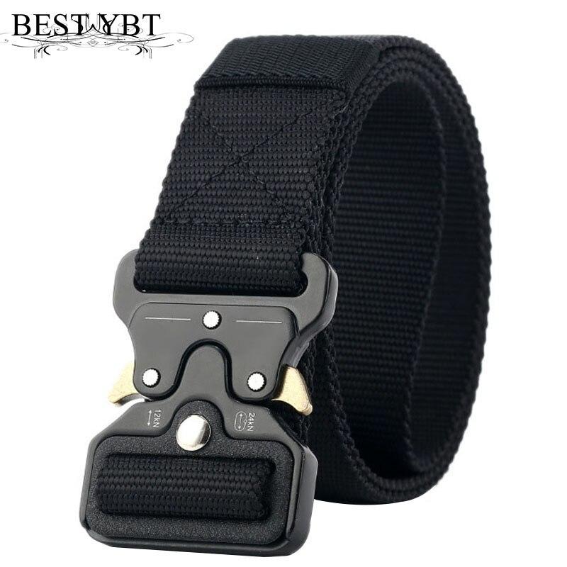 Mejor cinturón de nailon Unisex YBT hebilla de inserción de Metal cinturón de entrenamiento de nailon militar cinturones tácticos del ejército para hombres mejor calidad Correa masculina
