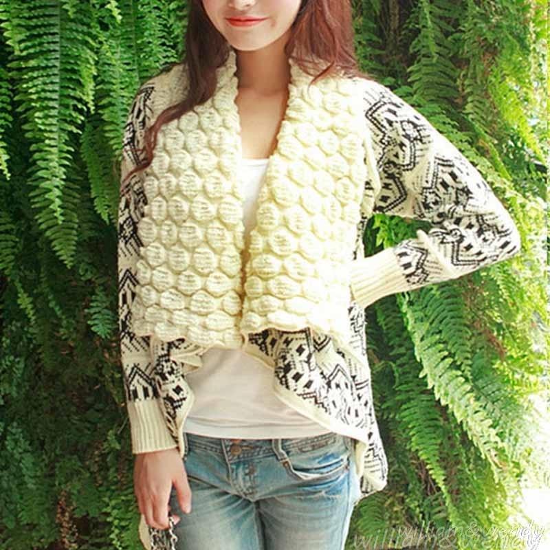 Women's Knitted Blue Sweater Cardigan Poncho Jersey Runway Designer Korean Fashion Loose Knitting Short Jumper Coats Female Cape