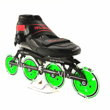 RASHA SKATE 4 wheels  inline speed skating shoes speed skates black carbon inline roller skates boot men/women patins inline
