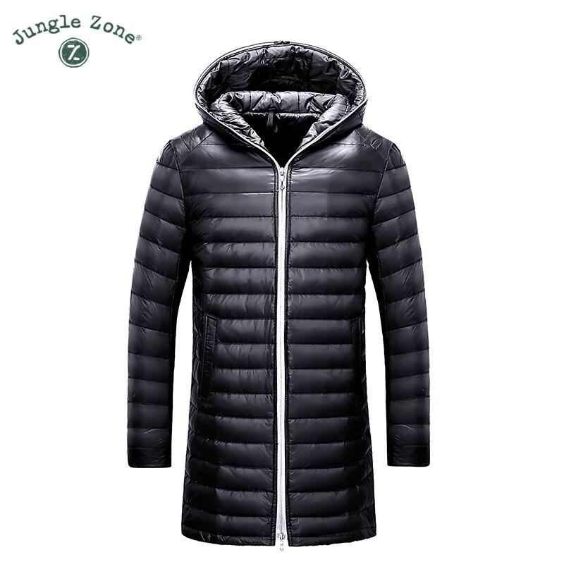 JUNGLE ZONE Winter ultralight Keep Warm Coat White Duck Down Long Jacket Coat Mens Casual Down Jacket mens hooded coat